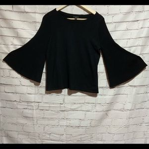 Ann Taylor Factory Bell Sleeve Black Sweater Sz M